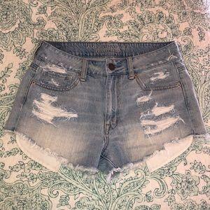 American Eagle Distressed High Waist Jean Shorts